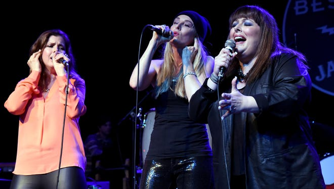 LOS ANGELES, CA - MARCH 30:  Wendy Wilson, Chynna Phillips and Carnie Wilson of Wilson Phillips performs on stage at Brian Fest: A Night To Celebrate The Music Of Brian Wilson at The Fonda Theatre on March 30, 2015 in Los Angeles, California.  (Photo by Jeff Kravitz/FilmMagic) ORG XMIT: 544946521 ORIG FILE ID: 468201518