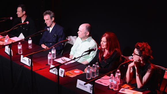 Left to right: Sam Calagione, Kosmo Vinyl, comedian Todd Barry, Kate Pierson of the The B-52s and Annie Clark of St. Vincent attend the Record Store Day press conference at Rough Trade Records last month  in Brooklyn.