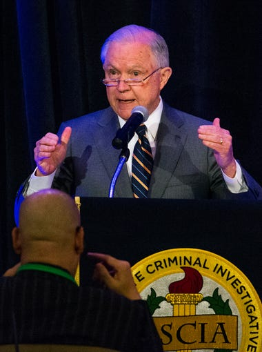 Attorney General Jeff Sessions addresses the Association of State Criminal Investigative Agencies at their Spring Conference May 7, 2018, at the Scottsdale Resort at McCormick Ranch.