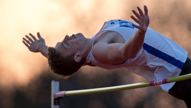 Memorial's Davis Howell won the high jump at the City track meet with a leap of 6-4 at Central Stadium. He will compete in the Central Regional on Thursday.