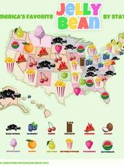 Although the national favorite jelly bean is buttered popcorn, Wisconsinites prefer watermelon.