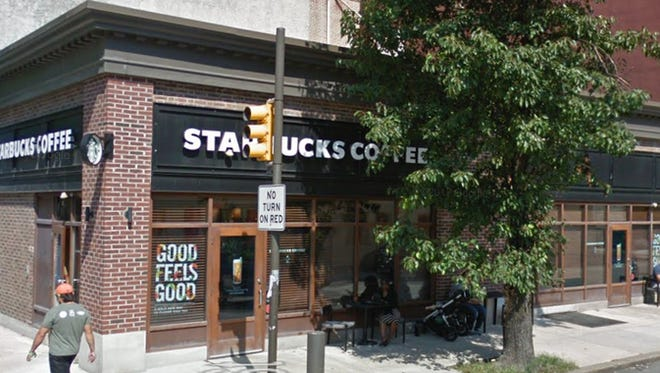 The Starbucks at 18th and Spruce where two black men were arrested Thursday.