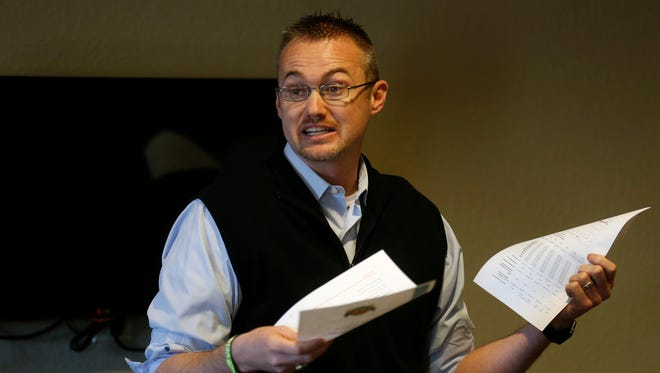 Aztec City Manger Josh Ray delivers a presentation Thursday during an Aztec Chamber of Commerce luncheon at the Microtel Inn & Suites.