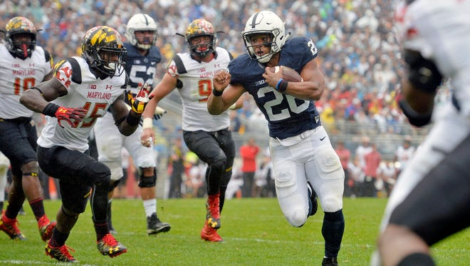 Penn State running back Saquon Barkley rushed for 202 yards in the Nittany Lions' 38-14 win against Maryland on Saturday at Beaver Stadium.