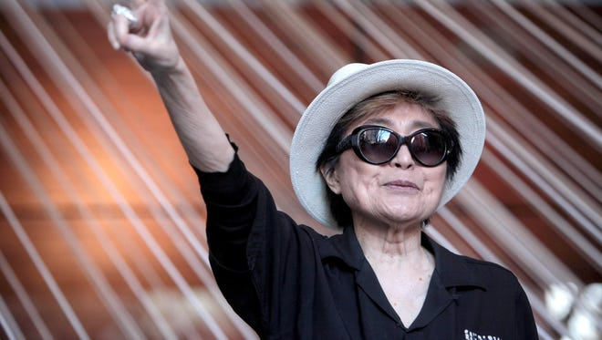 Japanese artist Yoko Ono attends the opening of her exhibition 'Land of Hope' on Feb. 2, 2016 in Mexico City, Mexico,.