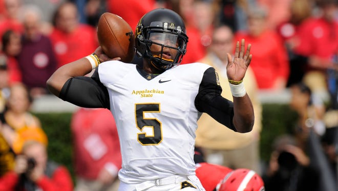 Appalachian State junior quarterback Kameron Bryant (5) moved into the starting lineup in the middle of the 2013 season and completed more than 71% of his passes.