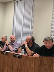 Lodi school board members Jonathan Carafa, second from