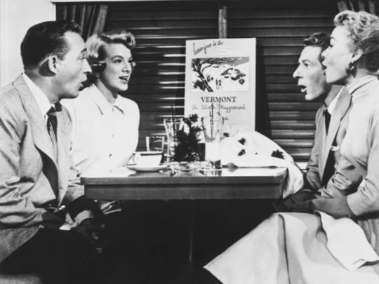 the lead characters in white christmas played by bing crosby rosemary clooney danny kaye and vera ellen ride the train to vermont - How Old Was Bing Crosby In White Christmas