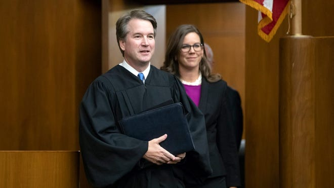 Federal appeals court Judge Britt Grant, at her swearing-in with now-Supreme Court Justice Brett Kavanaugh.
