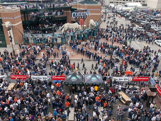 The patio at Cheli's Chili Bar was full of customers as fans filed into Comerica Park during opening day festivities in downtown Detroit on Monday, April 6, 2015.