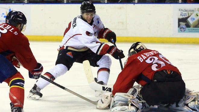 IceRays' Cole Gammer tries to score against Amarillo during the third period Saturday, Nov. 26, 2016, at the American Bank Center in Corpus Christi. The IceRays will take on Wichita Falls this weekend at the American Bank Center.