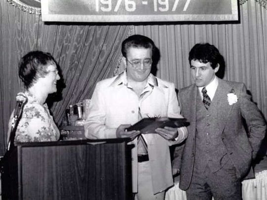 Jimmy Silvestri (center) with one-time assistant Joe Zarra (right) in a 1977 photo after Silvestri received an award at Belleville.