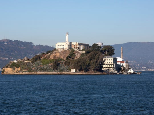 """Alcatraz Island, """"The Rock,"""" a former federal penitentiary in San Fransisco Bay, is part of the Golden Gate National Recreation Area, on November 12, 2015. (Brian van der Brug/Los Angeles Times/TNS)"""