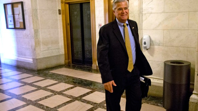 New York Senate Majority Leader Dean Skelos, R-Rockville Centre, arrives to his office at the Capitol on Monday, May 11, 2015, in Albany. Skelos could face a vote seeking his ouster if he refuses to step aside following his arrest last week on federal corruption charges. Skelos has so far rejected calls to resign from Democrats and a growing number of members from his own Republican Party. (AP Photo/Mike Groll)