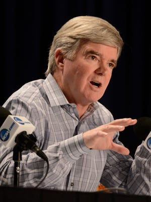 NCAA president Mark Emmert, seen here in April, laid out a timeline for potential changes to the governance of college athletics.