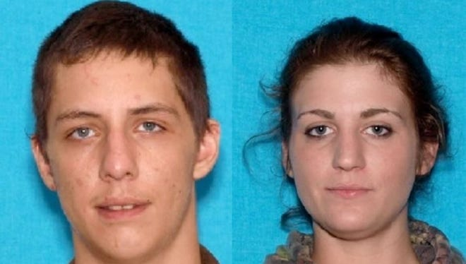 Jarret Heitmann, left, and Makayla Stilwell are among the Tennessee Bureau of Investigation's 10 Most Wanted. They were believed to have been in the area of southern Ulster County Friday night.