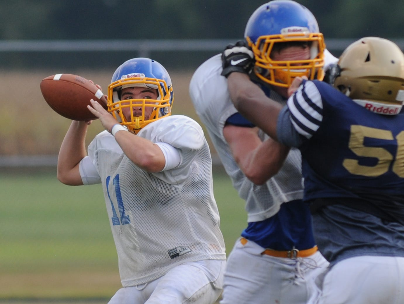 Sussex Central senior Chase Wells took the first snaps of the Knights' scrimmage against Sallies on Thursday, Sept. 3.
