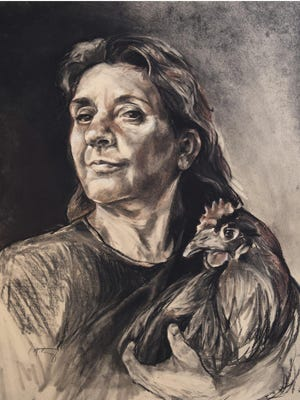 """Self Portrait with Chicken"" by Colleen McCarty, part of the Door Prize for Portraiture show at Chez Cheryl Artspace in Baileys Harbor."