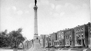The Confederate monument, dedicated in 1895, on Third Street.