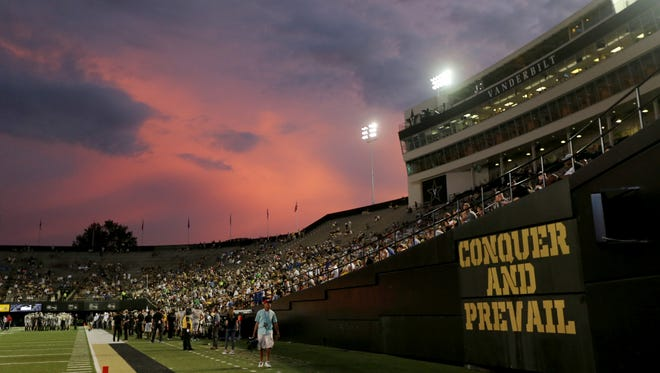The bad weather led to a beautiful sky over Vanderbilt Stadium in the second half of the game between Vanderbilt and MTSU on Saturday, Sept. 10, 2016, in Nashville.