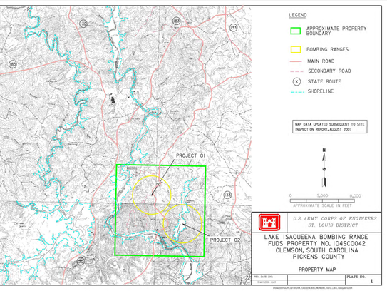 This map shows two practice ranges at and near Isaqueena