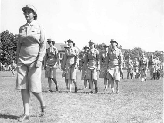 WACs marching at Fort Hancock in New Jersey during