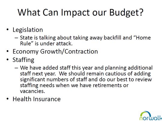Part of a budget slideshow presented at a recent Norwalk