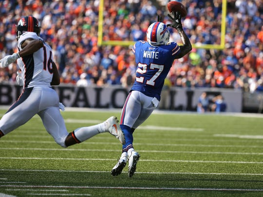 Bills cornerback Tre'Davious White steps in front of this pass intended for Bennie Fowler lll.  White was picked on for three quarters by Broncos but battled back to make several big plays in Buffalo's win. Up next: Julio Jones and the Falcons.