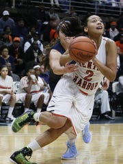 Kysre Gondrezick led Benton Harbor to the Class B semifinals last season. She is one of the greatest scorers in state history, No. 3 on the all-time list with 2,676 points.