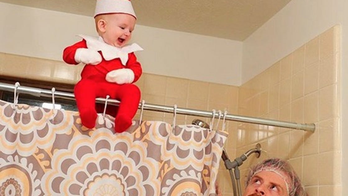 Dad turns baby into real, adorable 'Elf on the Shelf'