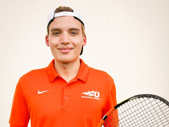 Sprague tennis player senior Sebastian Hammond on Tuesday, May 1, 2018.