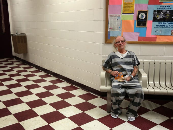 Eddie Nunley, 57, of Norwood, sits in the medical ward