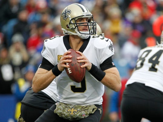 New Orleans Saints quarterback Drew Brees (9) looks to pass during the second half of an NFL football game against the Buffalo Bills. Sunday, Nov. 12, 2017, in Orchard Park, N.Y. (AP Photo/Jeffrey T. Barnes)