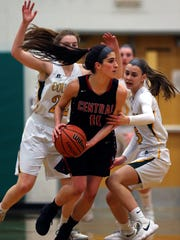 Hunterdon Central's Ashley Mitrow looks for room. Tuesday