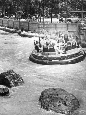 1981: A raft travels through a calmer section of Roaring Rapids at Six Flags Great Adventure.