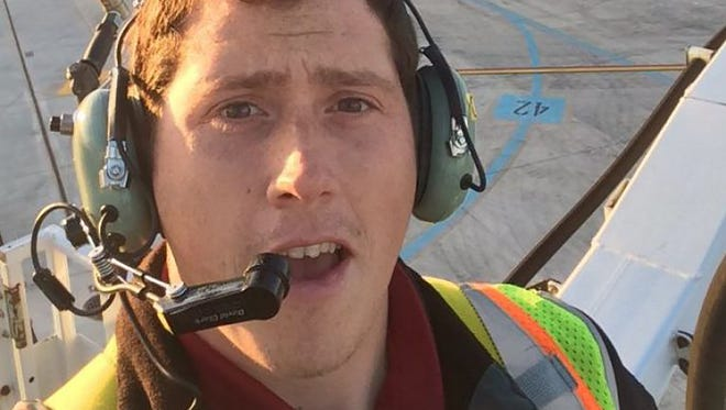 This undated selfie picture available on social media on Saturday shows Richard Russell, a ground service agent at the Seattle-Tacoma International Airport.