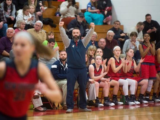 New Oxford head coach Jim Kunkle reacts during play