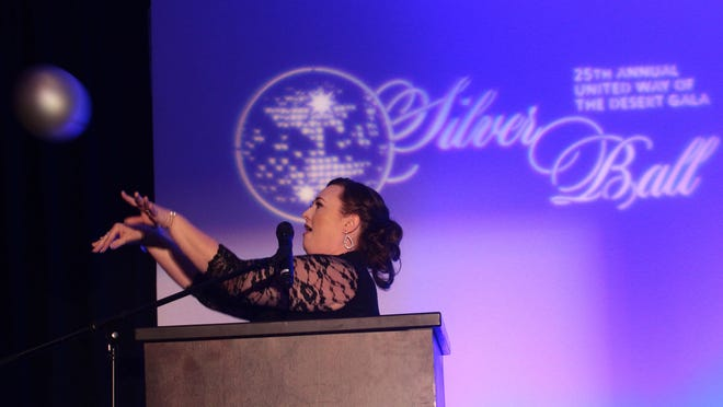 United Way of the Desert Executive Director Kristal Granados speaks during the Silver Ball at the Ritz-Carlton Hotel in Rancho Mirage.