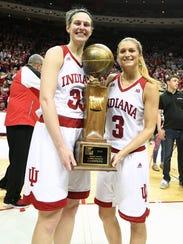 Indiana Hoosiers forward Amanda Cahill (33) and Indiana