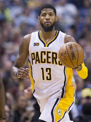 Paul George of Indiana, Atlanta Hawks at Indiana Pacers, Bankers Life Fieldhouse, Indianapolis, Wednesday, April 10, 2017. Indiana won 104-86 to make the playoffs.