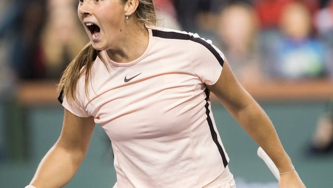 Daria Kasatkina of Russia plays against Venus Williams of the United States in their semifinal match at the 2018 BNP Paribas Open at Indian Wells Tennis Garden on March 16, 2018. Kasatkina won the match.