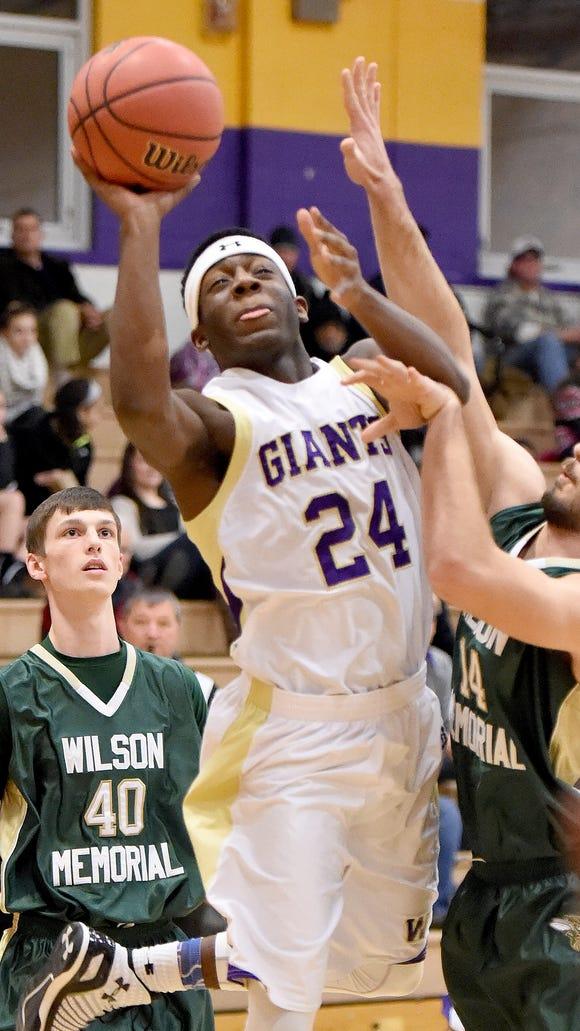 Waynesboro's DeVante Robinson takes the ball up and