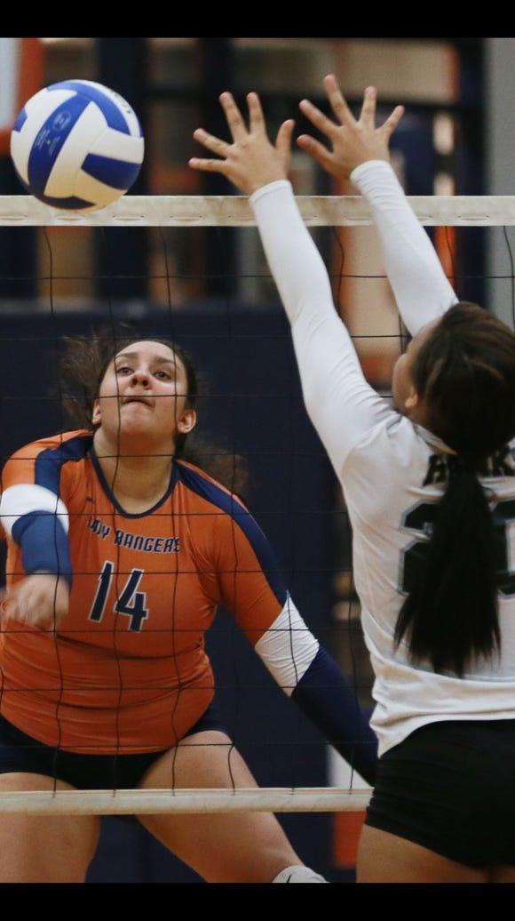 Riverside's Tessa Aldana hits the ball past Hanks defender