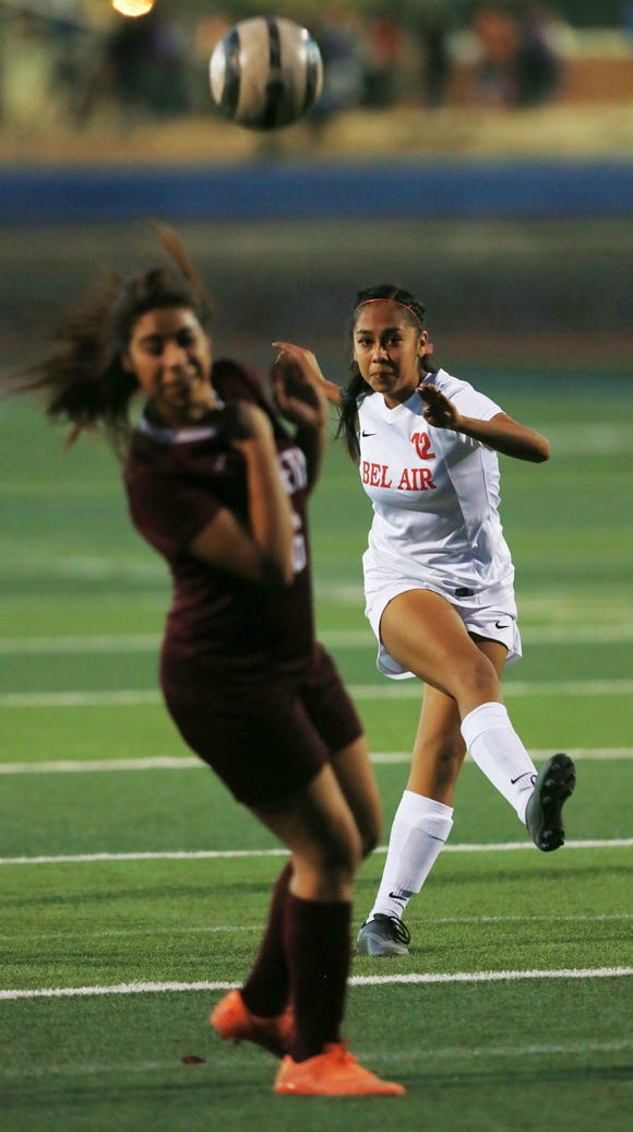 Bel Air's Guadalupe Rivas chips a pass over an Ysleta