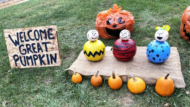 This Charlie Brown themed pumpkin display is just one of 55 entries in Middleboro's first Pumpkin Romp, which is happening now. To participate, local residents just need to acquire a map with all the displays listed, take a ride around town to track them down and then vote for their favorites at the end.