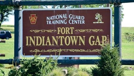 : The Fort Indiantown Gap sign welcoming visitors to post.