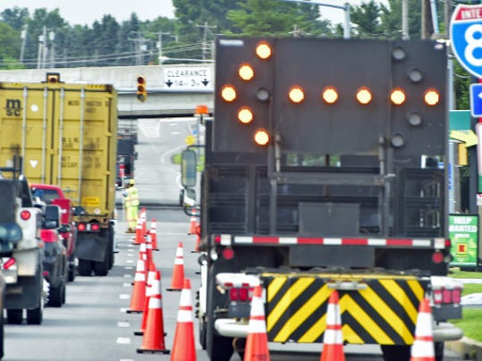 Traffic on Wayne Avenue near the Interstate 81 overpass at Exit 14 is backed up Wednesday morning near the entrance to the Manure Expo. Markell DeLoatch - Public Opinion
