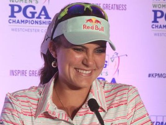 Lexi Thompson speaks after the Pro-Am of the KPMGWomen's PGA Championship at the Westchester Country Club in Harrison June 9, 2015.  Peter Carr/The Journal News