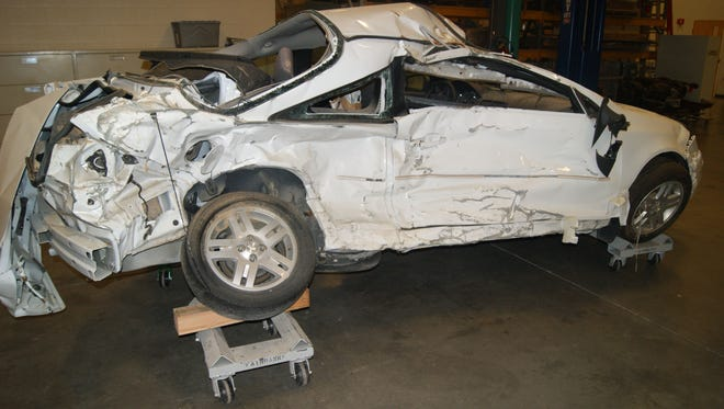 The 2005 Chevrolet Cobalt after 2010 Georgia crash that killed pediatric nurse Brooke Melton. Documents from her family's suit against GM showed GM knew of faulty ignition switches at least a decade before 2014 recalls.