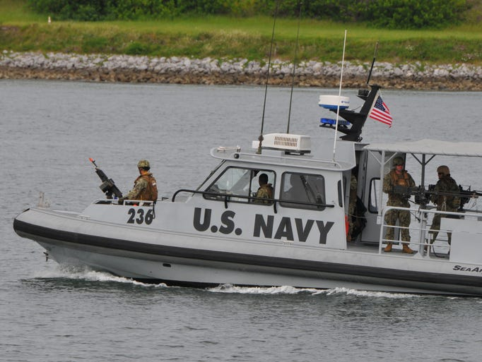 About 200 Navy personnel are in the middle of their annual training for overseas guard posts, bases and ports. They are training at the Naval Ordinance Test Unit at Port Canaveral.